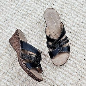 Patrizia Marja Wedge Sandals 9 Black Strappy Slip On Open Toe